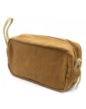 Jute Canvas Toiletry Bag - Large