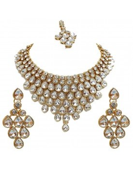 Gold Plating Partywear Necklace Set for Girls