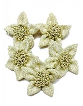 Eerafashionicing Jute Flowers Patches 8 for Women Dresses, Craft, Decor