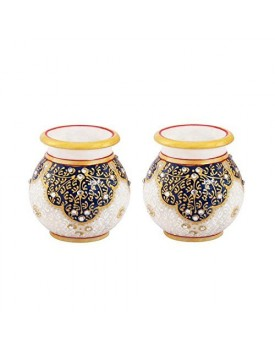 Marble Round Flower Vase Pair Painted in Kuppi Work by Handicrafts Paradise