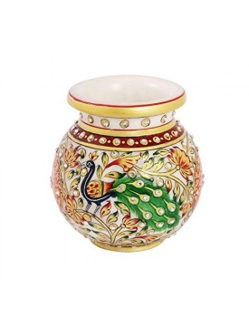 Round Flower Pot in Marble with Peacock Painted with Long Feathers by Handicrafts Paradise