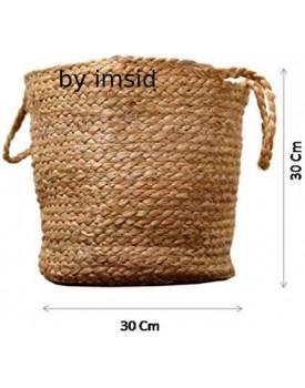 Imsid Home Jute Planter Cum Storage Basket with Handle, Handmade Natural Indoor Planter
