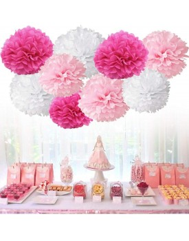 Chocozone DIY Pom Pom Flower Party Props Party Supplies Birthday Decorations Items for Girls ( Shades of Pink) - Pack of 8