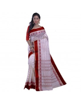 Avik Creations Women's Tant Tangail Handloom Cotton Saree Red Border White Without Blouse Piece