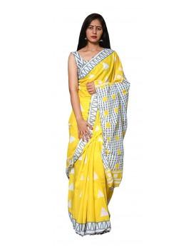 Morvi Women's Handloom Cotton Saree (Yellow)