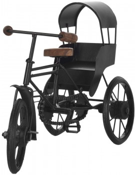 Century 21 Handicraft Wooden Wrought Iron Cycle Rickshaw Toy for Kids