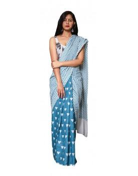 Morvi Women's Handloom Cotton Saree (Blue)