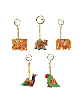 HANDICRAFTS PARADISE Unisex Carved Wooden Multicolour Key Ring