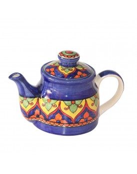 India Meets India Handmade and Hand Decorated Fine Crafted Ceramic Khurja Pottery with Lid (Blue and Yellow)