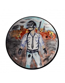 Aditya Blue Art Pottery PUBG Design Ceramic Decorative Wall Hanging Handmade Plate (20 cm x 20 cm x 3 cm)