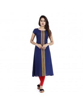kaniska fabric Jaal Handloom Rayon Printed Straight Kurti for Women/Kurta for Women/Ethnic Wear/Ladies Kurta/Fashion Kurtis (Blue) (M)