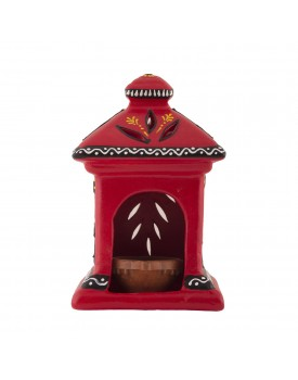 Shabana Art Potteries Terracotta Oil Hut Lamp (17 x 10 cm, Red)