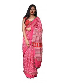 Morvi Women's Handloom Cotton Saree (Pink)
