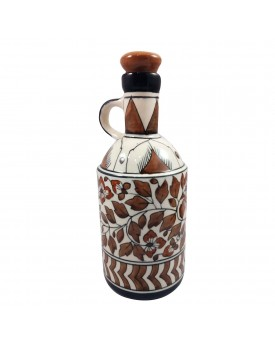 India Meets India Khurja Pottery Art Ceramic Handmade Cork Bottle (1 L)