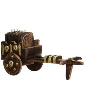 Wooden Antique Beautiful Wooden Bullock Cart Shaped Tea Coffee Coaster Set