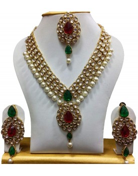 Shining Diva Gold Plated Kundan Pearl Traditional Necklace Jewellery Set with Maang Tikka and Earring for Women(Multicolor)