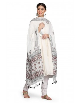 THE WEAVE TRAVELLER handloom Hand Block Printed Cotton Slub Dupatta With Zari Border and Pom Pom Edgings