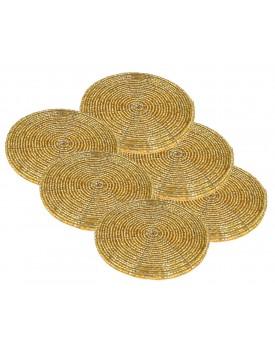 Prisha India Craft Handmade Golden Beaded Tea Coasters, 4 Inch | Set of 6