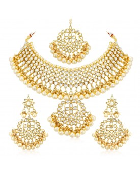 Sukkhi Trendy Kundan Gold Plated Wedding Jewellery Pearl Choker Necklace Set for Women