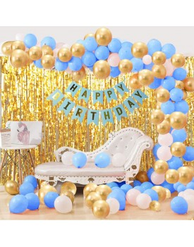 Party Propz 33Pcs Blue White and Golden Birthday Balloons Combo for Kids Or Boys Birthday Decoration Items