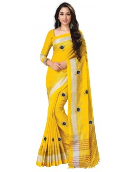 Venisa Women's Linen Cotton Embroidered Saree with Blouse Piece