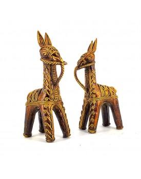 Ancient Dhokra Art || Handmade Signature Craft || Bankura Horse Pair, Brass Metal