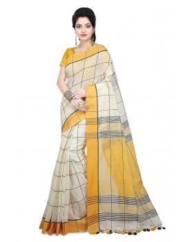 WoodenTant Women Handloom Checkered pure Cotton silk Saree Free Size