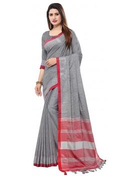 Venisa Women's Cotton Blend Saree With Blouse Piece
