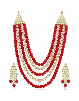 Sukkhi Astonish Gold Plated Wedding Jewellery Kundan Long Haram Necklace Set for Women