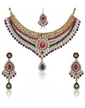 Shining Diva Kundan Choker Traditional Necklace Set/Jewellery Set for Women