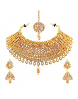 Sukkhi Exclusive Gold Plated Wedding Jewellery Kundan Choker Necklace Set For Women