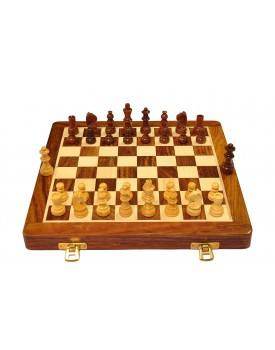 Palm Royal Handicrafts 10 inches Best Folding Wooden Handmade Chess Set Board with Magnetic Pieces