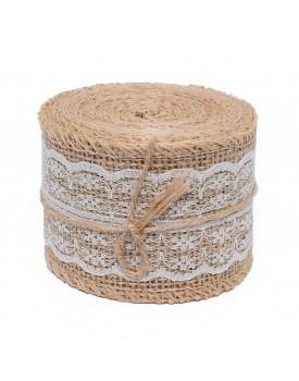 Okayji Hessian Natural Jute White Lace Burlap Craft Ribbon for Vintage Wedding Home Decor Trim Tape, 2 Meter, Trim_LACE_001