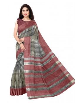 SOURBH Women's Poly Cotton Checks Prints Pattern Saree With Un-stitched Blouse Piece