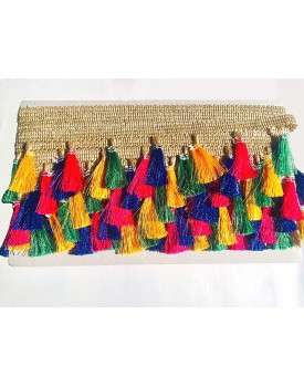 Eerafashionicing 9 mtr Tassels Jute Laces for Dresses, Sarees, Lehenga, Suits, Bags, Decorations, Borders, Craft (MultiColour)