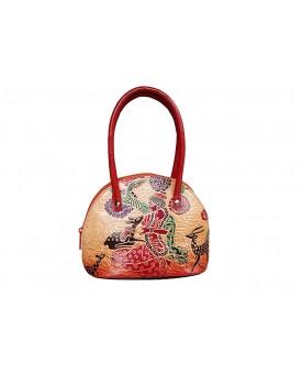 Ananya Leather Handicraft Women's Shantiniketan Pure Leather Block Design Purse