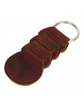 Rufous Premium Antique Brown Leather Key Chain, Keychain for Car and Bike, Key Ring