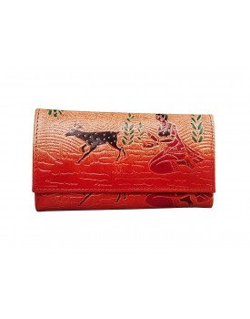 Ananya Leather Handicraft Shantiniketan Pure Leather Women's Clutch Purse with 5 Card Slots