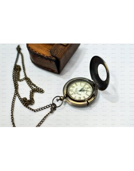 World Of Vintage Antique Finish Look Brass Push Button Anchor Pocket Watch