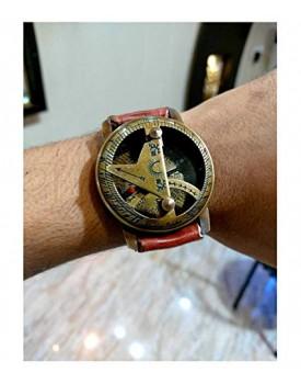 Nadim Handicraft Brass Sundial Compass Wrist Watch Leather Strap