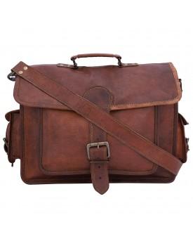 Camel Handicraft Hunter Leather Laptop Messenger Bag