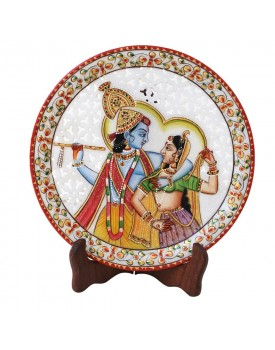 HANDICRAFTS PARADISE Marble Round Plate Cut Work Radha Krishna Pattern