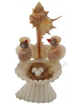 RADHAGOBINDA HANDICRAFT Sea Shell Handcrafted Half Nest of Birds Figurine