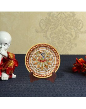 Handicrafts Paradise Peacock with Feathers Spread Pattern Round Shape Marble Showpiece Plate with Stand