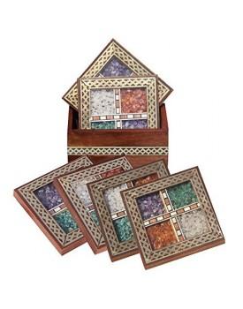 Handicrafts Paradise Gemstone shisham Brass Coaster Set of 6 pcs