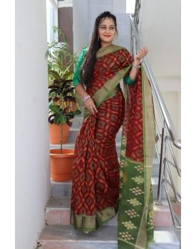 Ikkat pochampally pure siko silk sarees