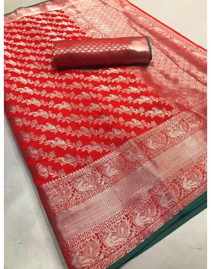 LICHI SILK WITH WIVING SILVER ZARI AND NICE EXTRA ORDNARY DESIGN